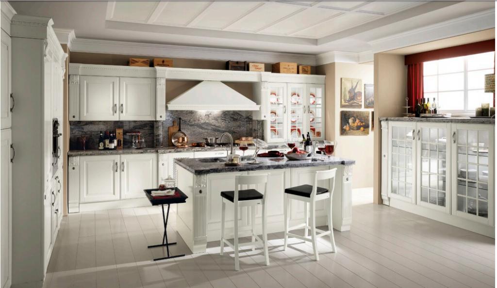 Cucina Mod. Baltimora Versione Laccato Opaco Bianco