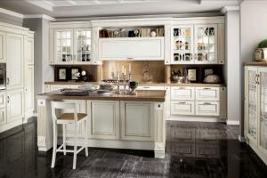 Cucina Mod. Baltimora Versione Laccato Opaco Bianco e Oro