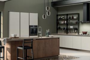 Cucina Mod. Evolution Anta Piana Laccato Opaco Bianco Prestige e Rovere Land