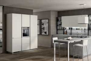 Cucina Mod. Evolution Anta Piana Laccato Opaco Bianco Prestige e Decorativo Concrete Medium