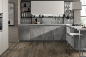 Cucina Mod. Evolution Anta Piana Decorativo Concrete Medium e Laccato Opaco Bianco Prestige