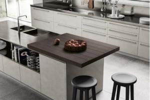 Cucina Scavolini Mod. Mood Finitura Biomalta  Argilla Lima e Laccato Opaco Grigio Ferro