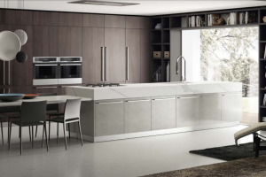 Cucina Scavolini Mod. Mood Finitura Impiallacciato Noce Saxony e Laccato Effetto Ossidato Stained Aluminium