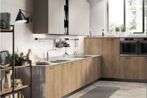 Cucina Scavolini Mod. Mood Finitura Decorativo Rovere  Landscape e Laccato Opaco Visone