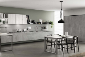 Cucina Scavolini Mod. Mood Finitura Decorativo Concrete Brooklyn e Rovere Actual