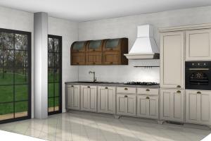 Cucina Mod. Favilla composizione Medium Finitura Laccato Opaco e Rovere Land