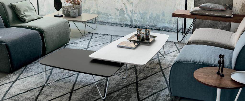 Art. RA0124 Tavolino in Coppia Finiture Bianco Gesso + Smoke