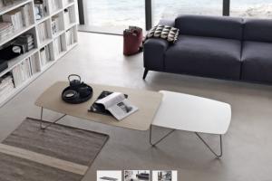 Art. RA0124 Tavolino in Coppia Finitura Laccato Opaco Poro Aperto Canapa + Laccato Opaco Bianco Gesso