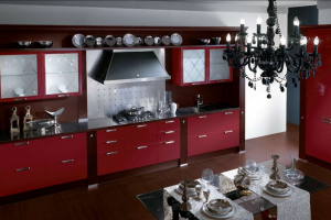 Cucina Scavolini Mod. Baccarat Finitura Rosso Lacca Laccato Lucido