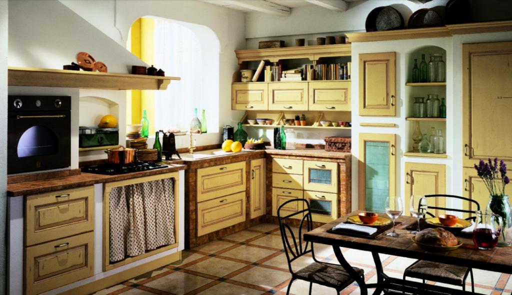 Cucina Scavolini Mod. Belvedere Finitura Rovere Giallo Antico con Muratura Provenza