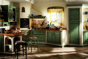 Cucina Scavolini Mod. Belvedere Finitura Rovere Verde Antico e Muratura Provenza