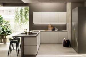 Cucina Scavolini Mod. DeLinea Finitura Laccato Opaco Bianco Prestige, Tortora e Verde Minerale