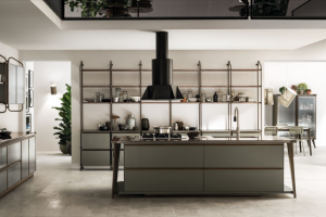 Cucina Scavolini Mod. Diesel OpenWorkshop Finitura Verde Minerale Laccato Opaco Profili Bronzo