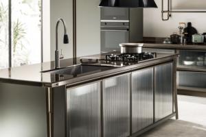 Cucina Scavolini Mod. Diesel OpenWorkshop Finitura Verde Minerale Laccato Opaco + Vetro Profili Bronzo