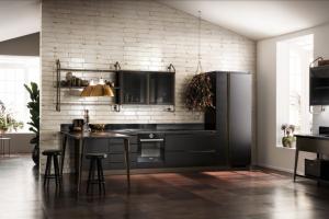 Cucina Scavolini Mod. Diesel OpenWorkshop Finitura Nero Ardesia Laccato Opaco + Vetro Profili Bronzo