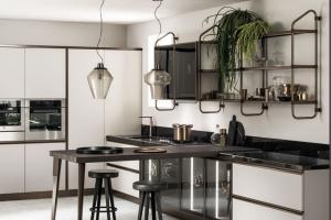 Cucina Scavolini Mod. Diesel OpenWorkshop Finitura Grigio Chiaro Laccato Opaco Profili Bronzo