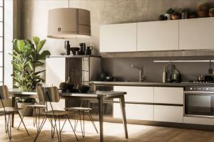 Cucina Scavolini Mod. Diesel OpenWorkshop Finitura Soft Beige Decorativo Profili Bronzo