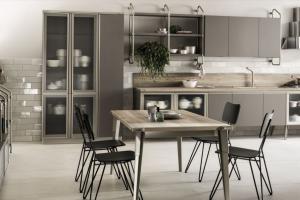 Cucina Scavolini Mod. Diesel OpenWorkshop Finitura Soft Dune Decorativo + Vetro Profili Acciaio
