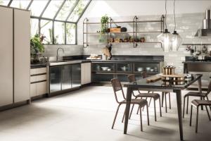 Cucina Scavolini Mod. Diesel OpenWorkshop Finitura Soft Greige Decorativo + Vetro Profili Bronzo