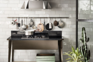 Cucina Scavolini Mod. Diesel OpenWorkshop Zona Cottura Finitura Bronzo + Soft Greige Decorativo