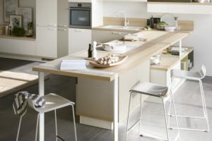Cucina Scavolini Mod. Foodshelf Finitura Decorativo Bianco Puro, Grigio Gabbiano, Grigio Terra.