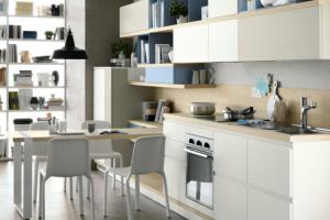 Cucina Scavolini Mod. Foodshelf Finitura Decorativo Bianco Puro, Grigio Gabbiano, Laccato Opaco Azzurro Laguna, Blu Aviazione, Bianco Prestige.
