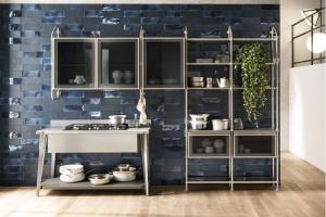 Cucina Scavolini Mod. Diesel OpenWorkshop Finitura Grigio Titanio Laccato Opaco + Vetro Profili Acciaio