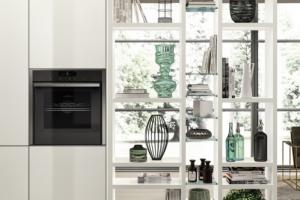 Cucina Scavolini Mod. LiberaMente Finitura Vetro Lucido e Decorativo Bianco Prestige
