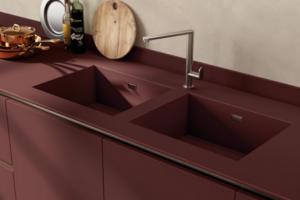 Cucina Scavolini Mod. LiberaMente Zona Lavaggio Integrato su Piano Top Fenix NTM Rosso Jaipur