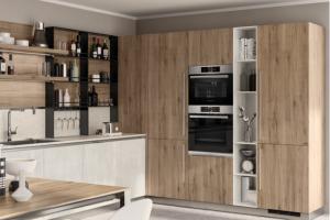 Cucina Scavolini Mod. LiberaMente Finitura Concrete Jersey e Rovere Voyage