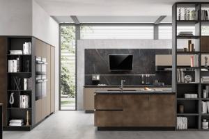 Cucina Scavolini Mod. LiberaMente Finitura Decorativo Oxide Bronze e Fenix NTM Castoro Ottawa