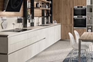 Cucina Scavolini Mod. Liberamente Finitura Decorativo Concrete Jersey e Decorativo Rovere Voyage