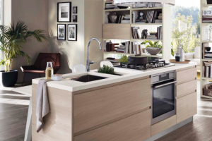 Cucina Scavolini Mod. Motus Finitura Decorativo Olmo Jaipur e Laccato Lucido Tortora